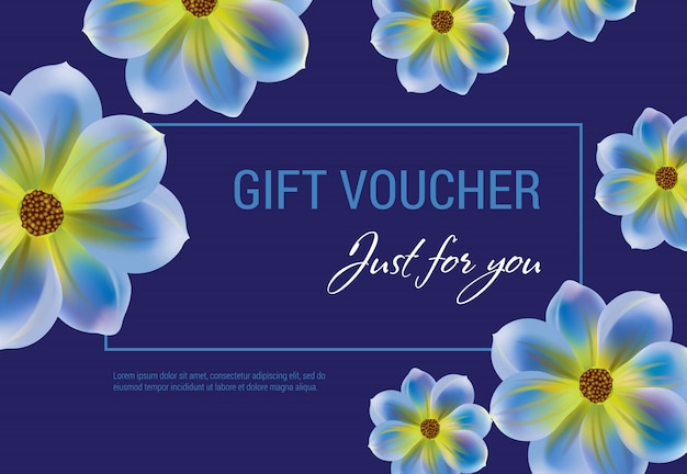 Just for you gift voucher with flowers and frame on dark blue background.