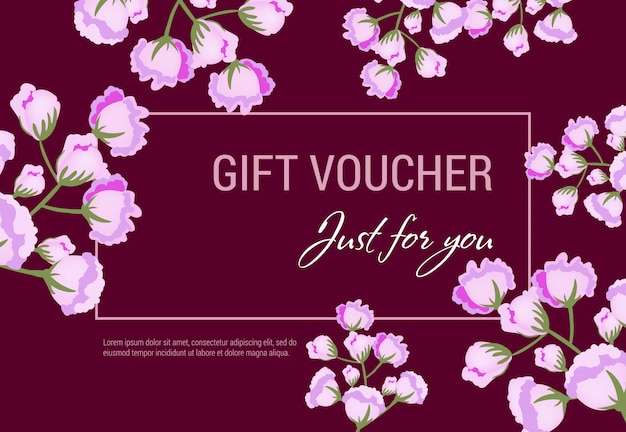 Just for you gift voucher with lilac flowers and frame on vinous background.