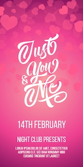 Just you and me lettering with sample text on pink background