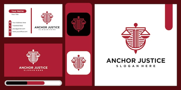 Justice anchor logo icon design template , business symbol or sign. justice anchor vector with business card display, logo for legal consultancy, lawyer and more Premium Vector