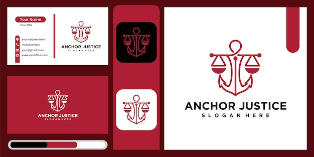 Justice anchor logo icon design template , business symbol or sign. justice anchor vector with business card display, logo for legal consultancy, lawyer and more