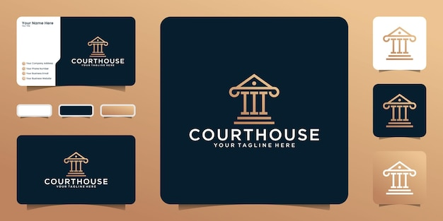 Логотип здания суда правосудия в стиле арт-линии и визитная карточка