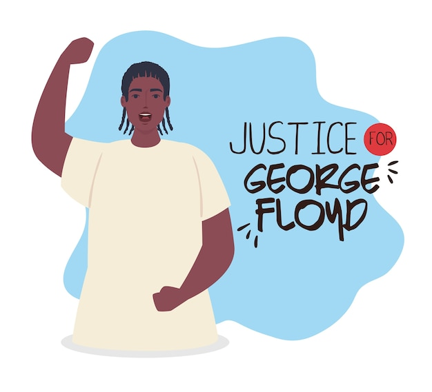 Justice george floyd, black lives matter, and man african with hand up, stop racism.
