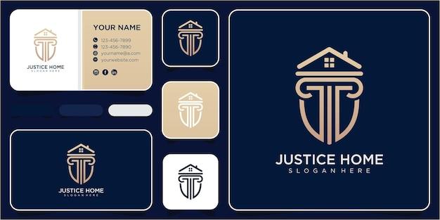 正義の家のロゴデザインのインスピレーション。正義のロゴデザインコンセプト。ホームロゴデザイン。法律のロゴデザイン