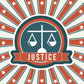 Justice icon over vintage background vector illustration