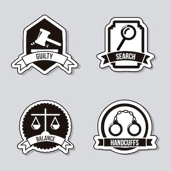 Justice icons over gray background vector illustration