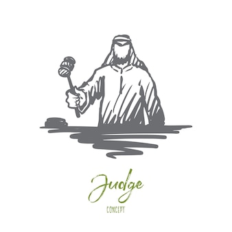 Justice illustration in hand drawn