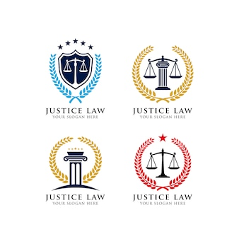 Justice law emblem logo design template