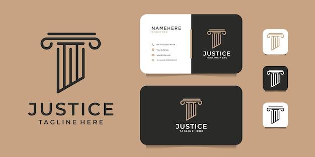Юридическая фирма правосудия логотип и шаблон визитной карточки. логотип может использоваться как бренд, айдентика, креатив, юридическая, минимальная и бизнес-компания.