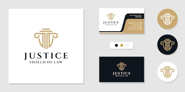 Justice law firm logo and business card design template inspiration