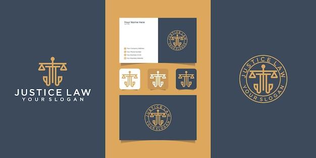 Шаблон логотипа юридической фирмы правосудия и визитная карточка