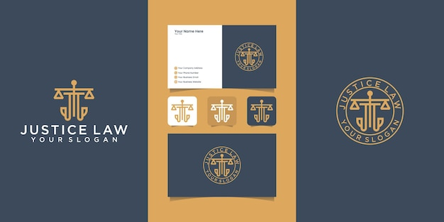 Justice law firm logo template and business card