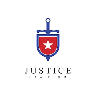 Justice law firm logo with sword shield and star symbol