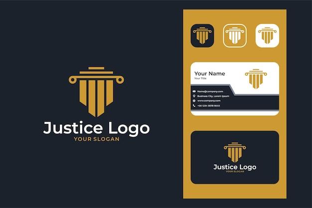 Юридическая фирма правосудия современный дизайн логотипа и визитной карточки