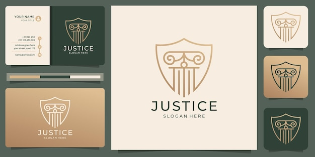 Justice law firm with shield logo and business card