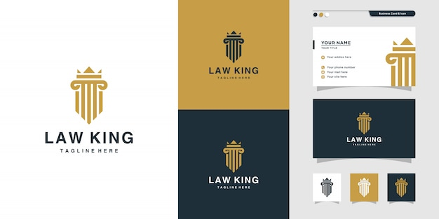 Justice law king logo and business card design. gold, firm, icon
