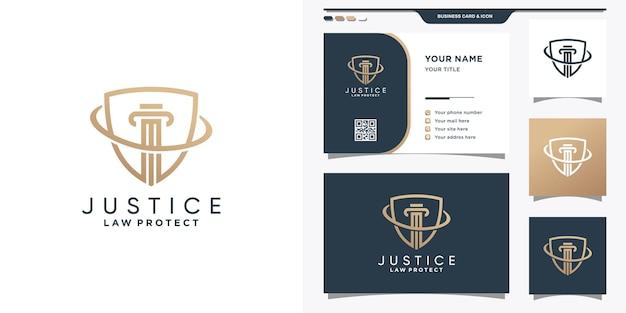 Логотип закона правосудия в сочетании с дизайном щита и визитной карточки.