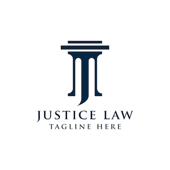 Justice law logo design template. pillar and star shape illustration