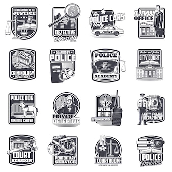 Justice and law, police and private detective icons set.