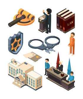 Justice legal isometric. law hammer books judge lawyer criminal court and other 3d  symbols isolated