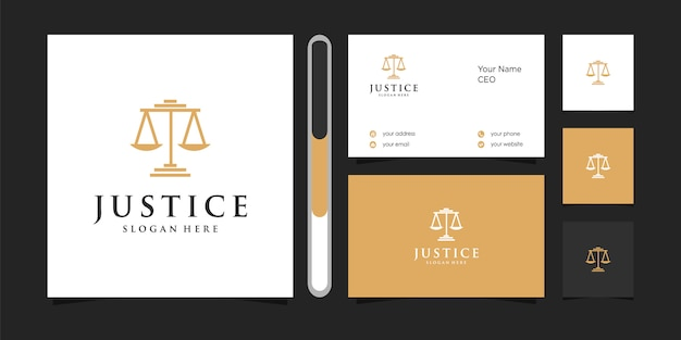 Justice logo   and business card.
