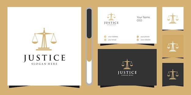 Дизайн логотипа правосудия и визитная карточка