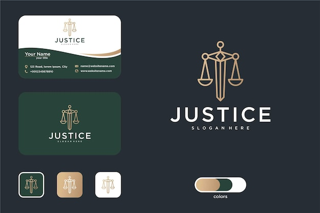 Justice logo design with sword shaped and business card