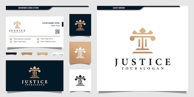 Justice logo template with modern concept and businness card design premium vektor