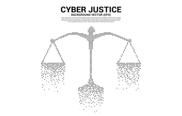 Justice scale from square pixel digital style. concept of cyber social judgment