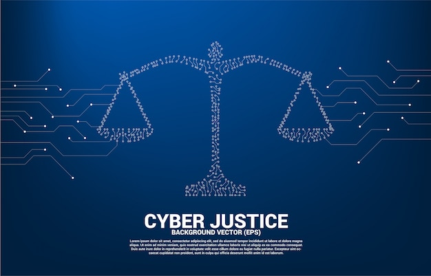 Justice scale with dot and line connection circuit board style. concept of cyber social judgment