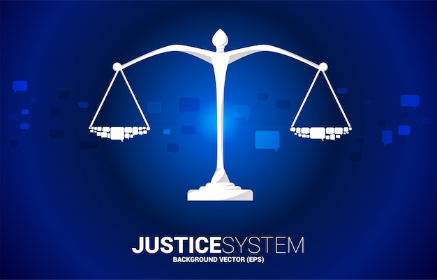 Justice scale with speech bubble. social judgment system.justice scale with group of speech bubble. background concept of social judgment system.