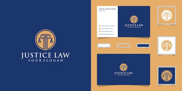 Логотип весов правосудия с дизайном шаблона круга и визитной карточкой