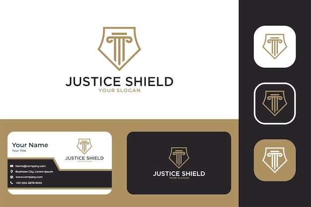 Justice shield line art logo design and business card