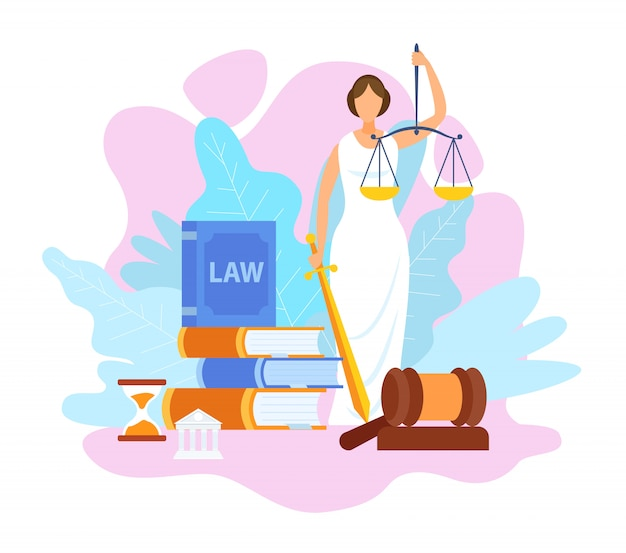 Justice statue holding scales flat illustration