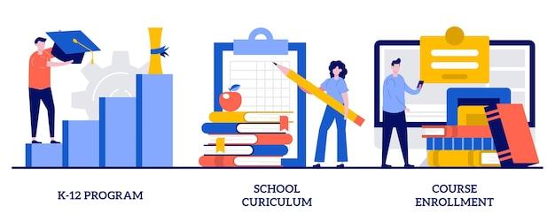 幼稚園から高校までのプログラム、学校のカリキュラム、小さな人々とのコース登録の概念。公立学校セット。学習カレンダー、教育計画、学位プログラム、新入生。