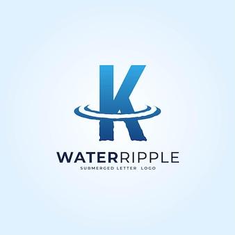 K青いグラデーション文字水波紋スプラッシュ波ダイナミックロゴベクトルアイコンイラスト