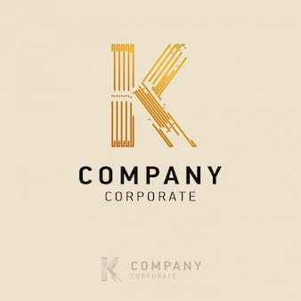 K company logo design with visiting card vector