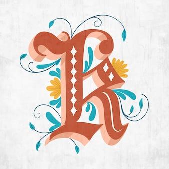 K creative floral letter of alphabet