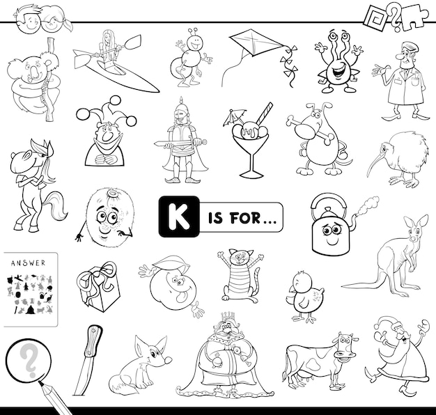 K is for educational game coloring book