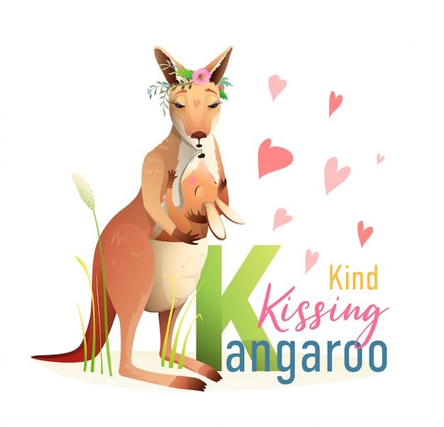 K는 캥거루, 동물 abc 그림책입니다. 엄마와 아기 가방 캥거루 캐릭터 만화. 귀여운 동물원 동물 알파벳 그림책, 수채화 스타일 디자인.