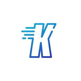 K letter dash fast quick digital mark line outline logo vector icon illustration