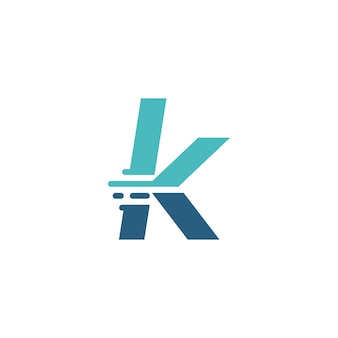 K letter dash lowercase tech digital fast quick delivery movement blue logo vector icon illustration