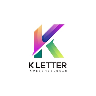 K letter geometric colorful logo gradient abstract