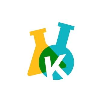 K letter lab laboratory glassware beaker logo vector icon illustration
