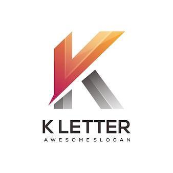 K letter logo colorful gradient illustration