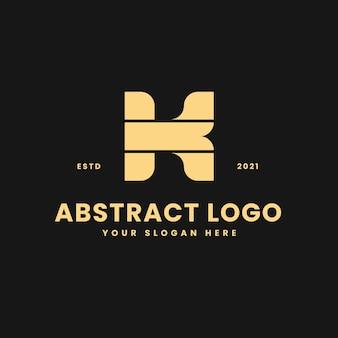 K letter luxurious gold geometric block concept logo vector icon illustration