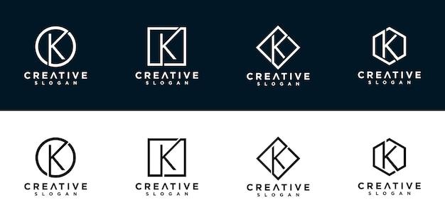 K logo design template initials