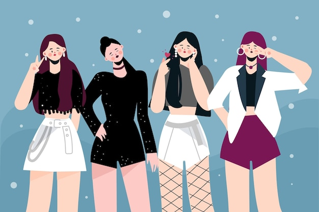 К-поп группа молодых девушек проиллюстрирована