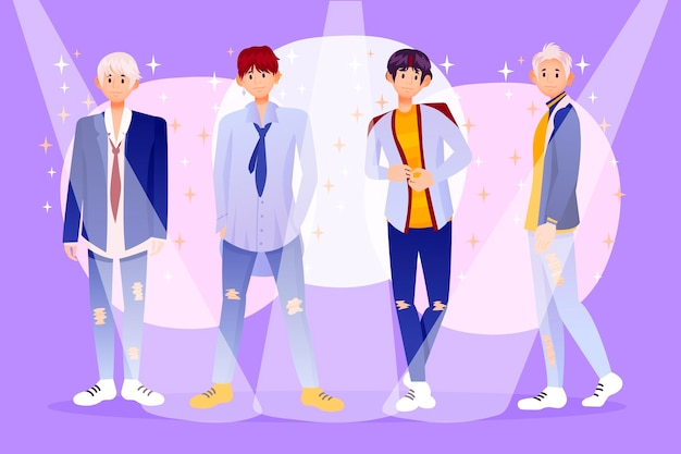 Gruppo k-pop di giovani ragazzi illustrato