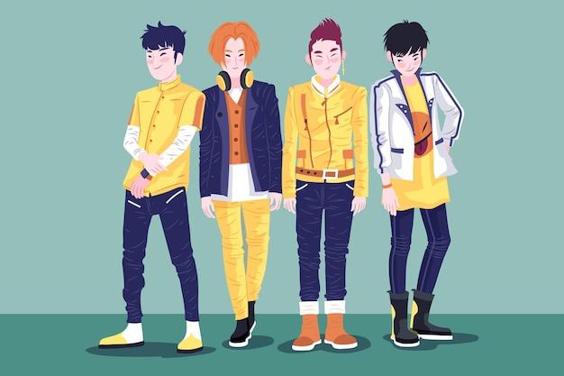 Gruppo k-pop di giovani ragazzi